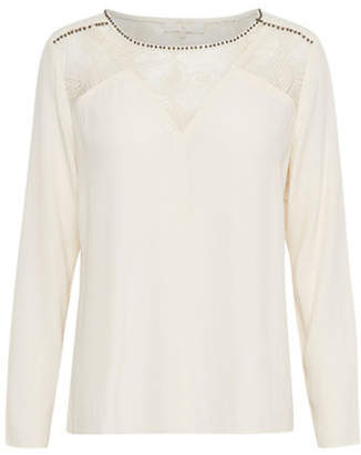 Cream Cara Long Sleeve Blouse