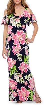 MSK Short Sleeve Floral Maxi Dress