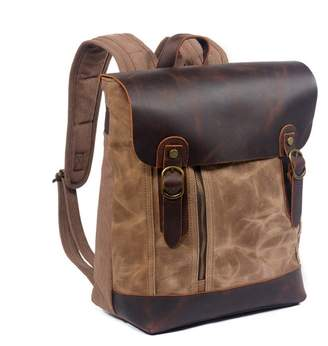 EAZO - Zip Front Waxed Canvas Backpack With Leather Flap In Khaki