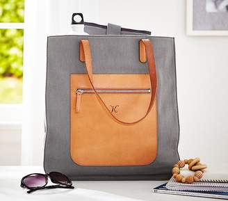 Pottery Barn Kids Gray Canvas Leather Tote