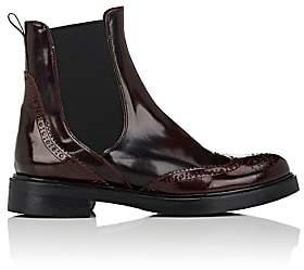 Barneys New York Women's Spazzolato Leather Wingtip Chelsea Boots - Wine