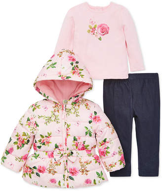 Little Me Baby Girls 3-Pc. Floral-Print Puffer Jacket, Top & Leggings Set