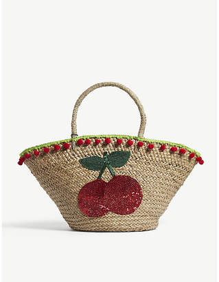 Mystique Ladies Brown and Red Cherry Sequin Straw Beach Bag