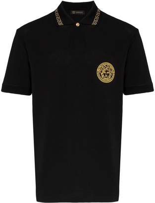 Versace medusa embroidered cotton polo shirt