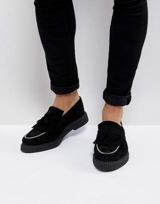 Asos Creeper Loafers In Black Suede With Zip Detail