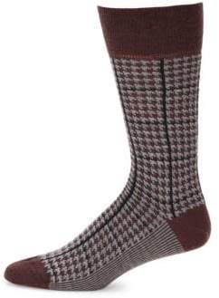 Saks Fifth Avenue 30120 Check Mid-Calf Socks