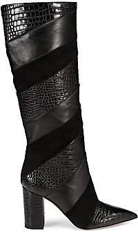 Aquazzura Women's Boetti Croc-Print Leather & Suede Tall Boots