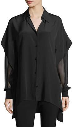 Diane von Furstenberg Long-Sleeve Button-Front Silk Shirt