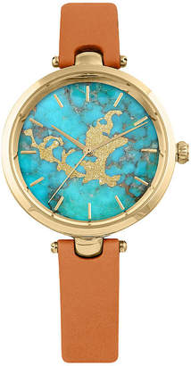 Decree Blue Marble Dial Womens Brown Strap Watch-Pts2924gdcg