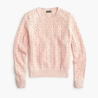 J.Crew Point Sur allover pointelle crewneck sweater