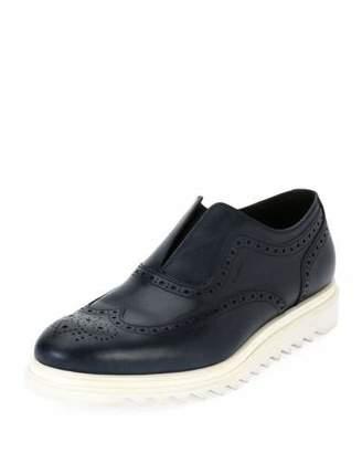 Salvatore Ferragamo Men's Leather Wing-Tip Slip-On Sneaker, Blue
