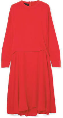 Cédric Charlier Pleated Crepe De Chine Midi Dress - Red