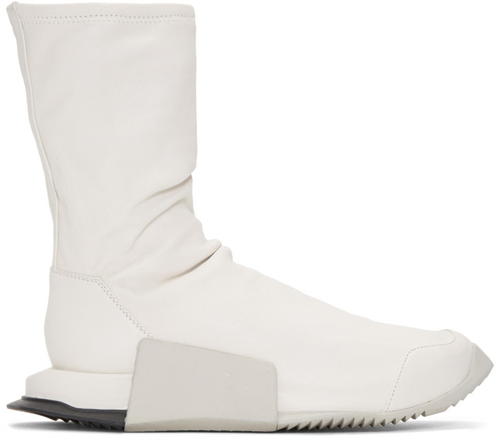 Rick Owens Ivory adidas Orginals Edition Leather Level Sock Mid-Calf Sneakers