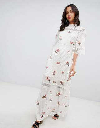 Vila Metallic Spot Lace Insert Maxi Dress