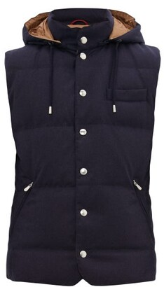 Brunello Cucinelli Down Quilted Technical Hooded Gilet - Mens - Navy