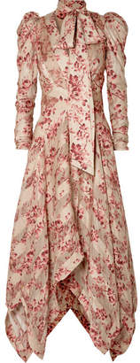 Zimmermann Unbridled Chiffon-paneled Floral-print Silk-blend Dress - Antique rose