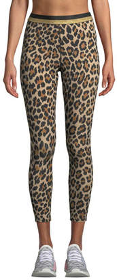 Kate Spade Leopard-Print Cropped Leggings With Metallic Stripe
