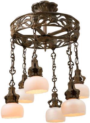 Rejuvenation Cast Iron Figural Art Nouveau Chandelier w/ Art Glass Shades