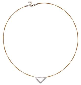 Alor Two-Tone Diamond Detail Open Triangle Charm Necklace - 0.26 ctw
