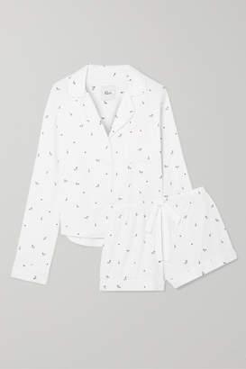 Rails Printed Flannel Pajama Set - White