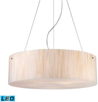 Elk Lighting Modern Organics-5-Light Pendant in White Sawgrass Material in Polished Chrome - Led, 800 Lumens