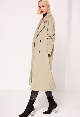 Cocoon Double Breasted Faux Wool Coat Nude $121 thestylecure.com