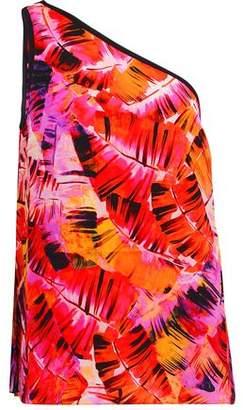 Matthew Williamson Parlatuvier One-Shoulder Printed Silk-Chiffon Top