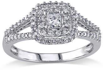 MODERN BRIDE 1/2 CT. T.W. Princess-Cut Center Diamond 14K White Gold Double-Frame Ring