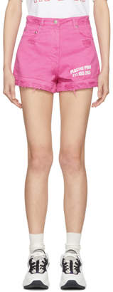 MSGM Pink Cut-Off Denim Shorts
