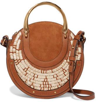 Chloé Pixie Suede, Leather And Raffia Shoulder Bag - Tan