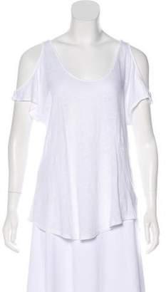 Velvet Linen Cold-Shoulder Top
