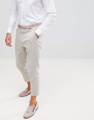 Twisted Tailor tapered pants in stone linen