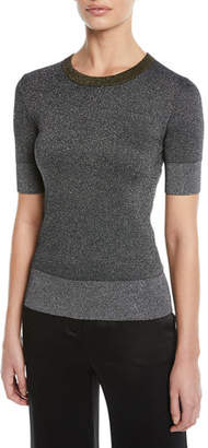 Escada Round-Neck Short-Sleeve Metallic-Knit Pullover Top