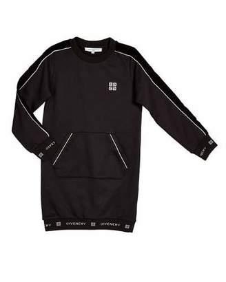 Givenchy Girl's Logo Trim Dress w/ Kangaroo Pocket, Size 12-14