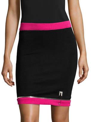 Jeremy Scott Contrast Safety Pin Stretch Knit Pencil Skirt