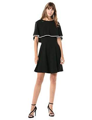 Gabby Skye Women's Short Sleeve Round Neck Fit and Flare Cape Dress