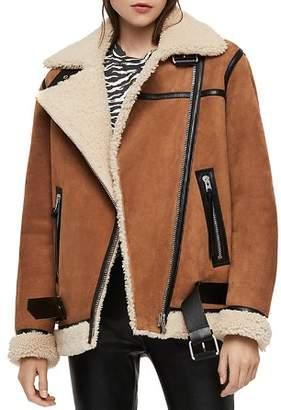 AllSaints Rei Shearling Moto Jacket