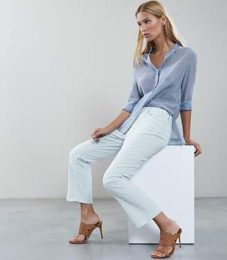 Reiss ASHLEY KICK FLARE CROPPED TROUSERS Ice Blue