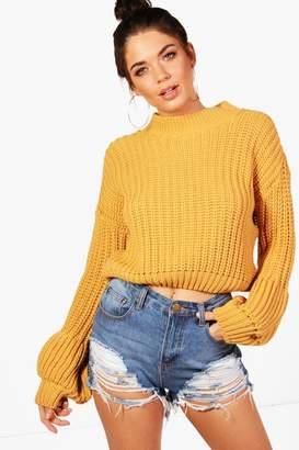 boohoo Natasha Chunky Balloon Sleeve Knitted Crop Jumper