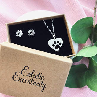 Eclectic Eccentricity Pet Paw Print Necklace And Earrings Gift Set