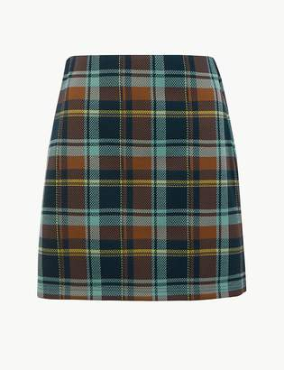 Marks and Spencer Checked Jersey Pencil Mini Skirt