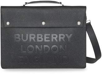 Burberry Triple Stud Logo Embossed Leather Document Case