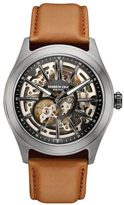 Kenneth Cole Gunmetal-Tone Stainless Steel and Leather Skeleton Strap Watch, 10030817 $185 thestylecure.com