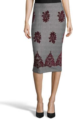 5twelve Embroidered Plaid Pencil Skirt