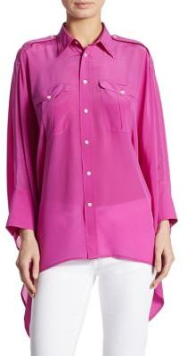 Polo Ralph Lauren Silk Poncho Shirt $145 thestylecure.com