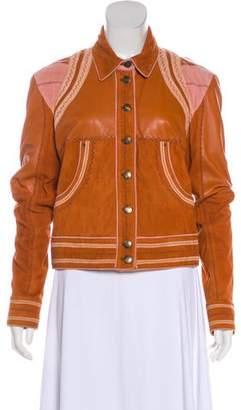 Just Cavalli Long Sleeve Leather Short Coat
