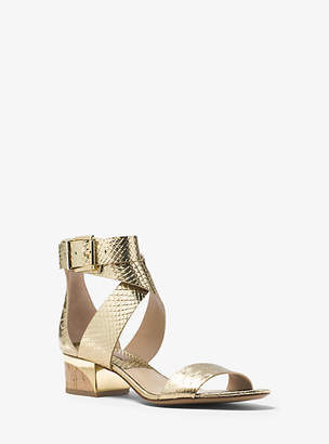 Michael Kors Tulia Metallic Snake-Embossed Leather Sandal