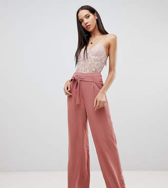 Missguided Tall exclusive tall tie waist wide leg pants in mocha
