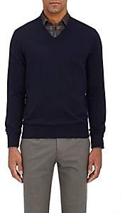 Fioroni Men's Duvet Cashmere V-Neck Sweater - Navy