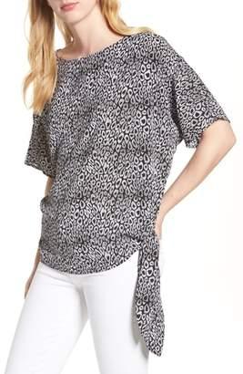 MICHAEL Michael Kors Wavy Leopard Print Stripe Tie Top